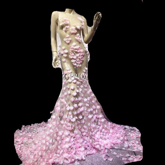 Sexy Rose Fleur Robe Costume d'une Seule pièce de Soirée Longue Queue Robe de Soirée Célébrez Usure Chanteur Vêtements de Performance de Scène