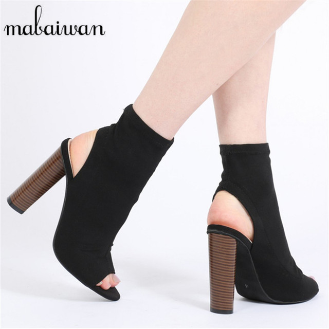 Fashion Women Stretch Summer Ankle Boots Peep Toe Slingback Slip On High Heels Elastic Sock Botas Short Booties Botines Mujer