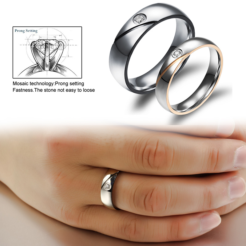 Couple Rings Engrave Name Wedding Rings For Women Men Cz Crystal