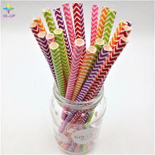 HOT 25/pcs Colorful Striped Paper Straws Chevron  Flower For Kids Birthday And Wedding Christmas Party Decoration