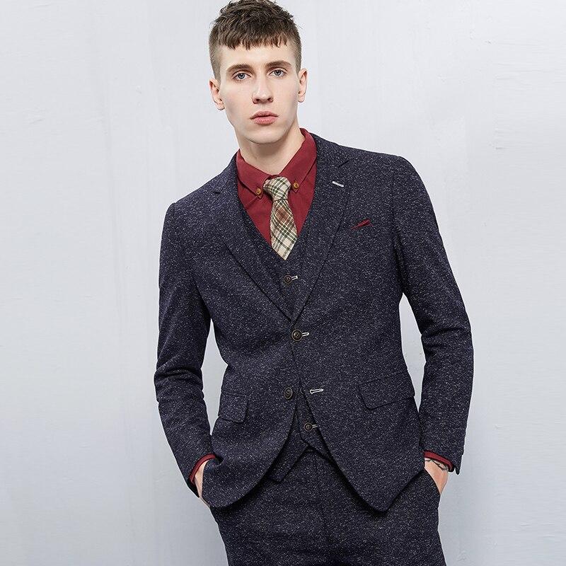 Vintage Thick Christmas Tweed Suit Men Slim Fit Grey Tuxedo Wedding