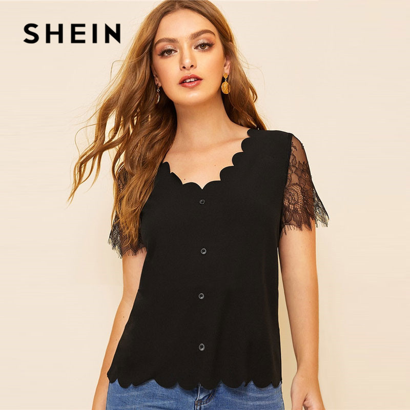 6ef838ed03 SHEIN Button Front Scallop Trim Lace Sleeve Black Blouse Women Elegant V  Neck Solid Summer Short Sleeve Blouse Ladies Tops