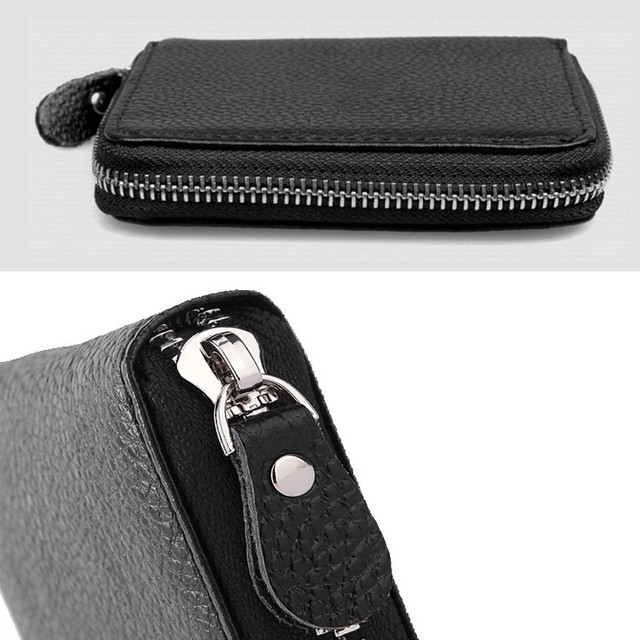 Men's genuine leather wallet black bifold Zip around real leather male purse coin pocket Cow leather card case gift short wallet