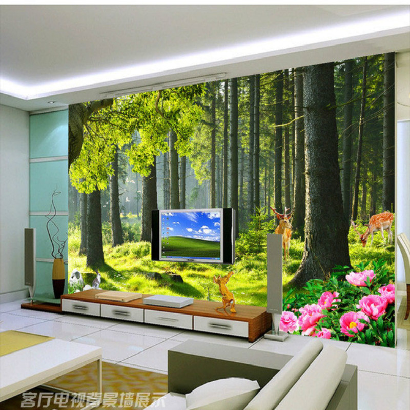 Forest trees landscape 3D large living room bedroom wall painting mural 3D wallpaper TV backdrop stereoscopic 3D wallpaper pink romantic sakura reflection large mural wallpaper living room bedroom wallpaper painting tv backdrop 3d wallpaper