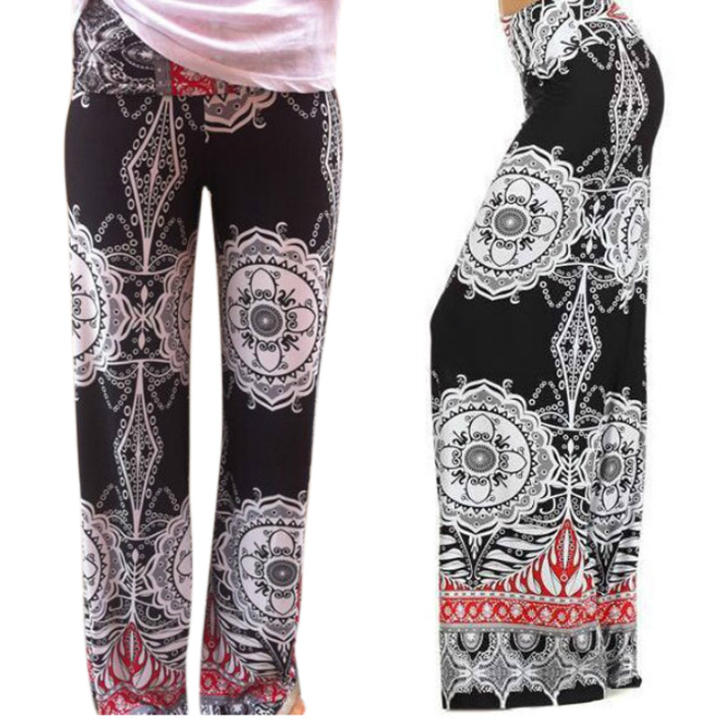 Fashion Women Summer Thin Pants Wide Leg Trousers Loose Casual Flower Printed Long Pants H9