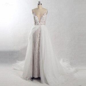 Image 4 - RSW815 съемное длинное свадебное платье со шлейфом 2 в 1