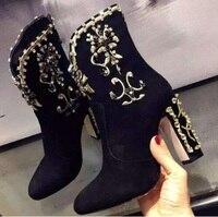 Ботильоны с украшением в виде кристаллов, женские черные замшевые ботильоны на толстом каблуке, женские зимние ботинки с цветочной вышивко