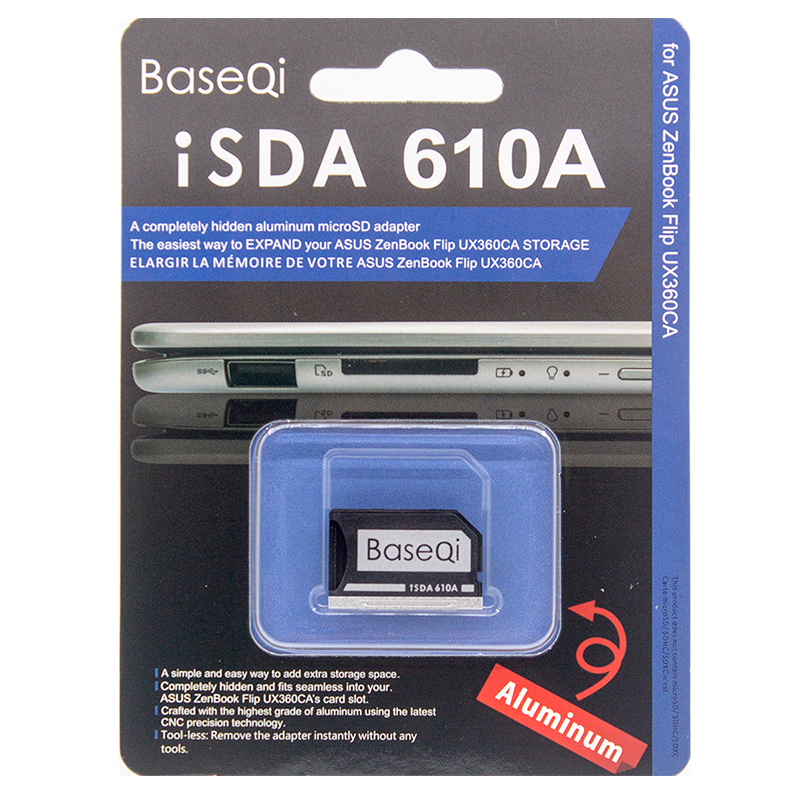 BaseQi Aluminum Stealth driver Micro SD Card adapter SD Card Reader For ASUS UX31A and ASUS