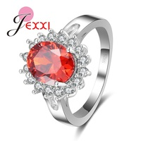 JEXXI Fine Jewelry 925 Sterling Silver Bridal Wedding Rings For Women Red Natural Crystal Engagement Finger Ring Bijoux