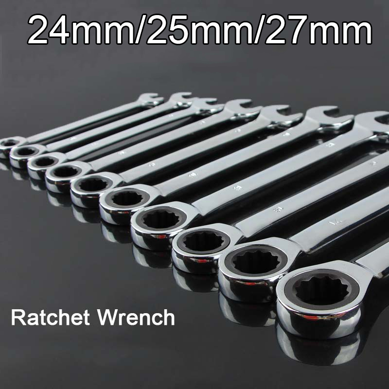 High Quality 1Piece Reversible Ratchet Wrench Ratcheting Socket Spanner Nut Tool 24mm/25mm/27mm yalku ratchet wrench ratcheting socket spanner 8 19mm reversible nut tool kit 7pcs wrench set ratchet spanner hand tool wrench