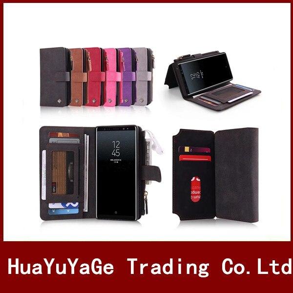 Hyygedeal Multi-Функция молния кошелек ID держателя карты pu 11 слотов для карт телефон чехлы для Samsung Galaxy S7 край S8 плюс Примечание 8