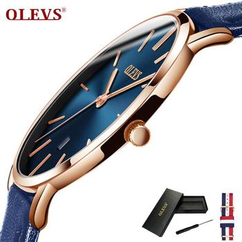 OLEVS Ultra ince Moda Erkek Kol Saati Deri Kordonlu Saat Iş Saatler Su Geçirmez Çizilmeye dayanıklı Izle Saat G5869P