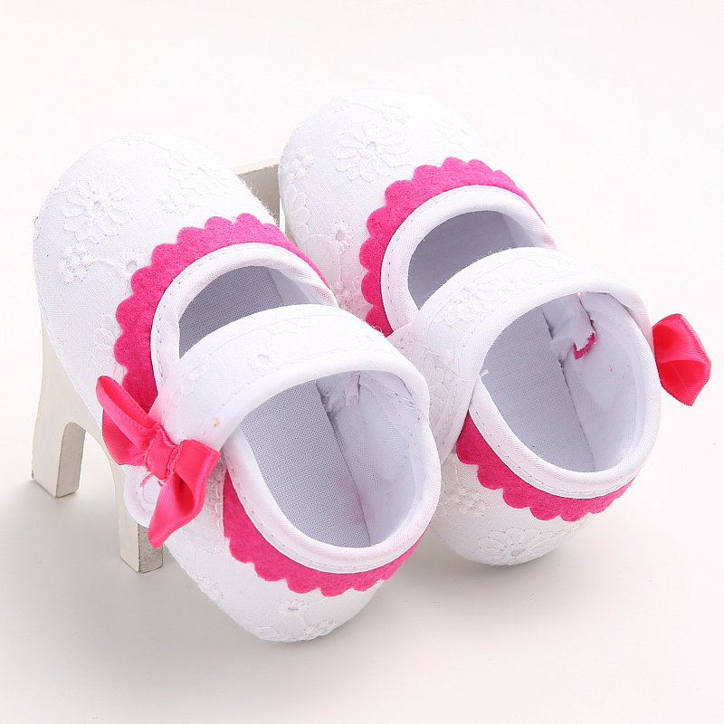 Lace Princess Bow Crib Bebe Soft Soled Loafer Shoes Infant Baby Girl Lace Soft Sole Non-slip Crib First Walkers Shoes