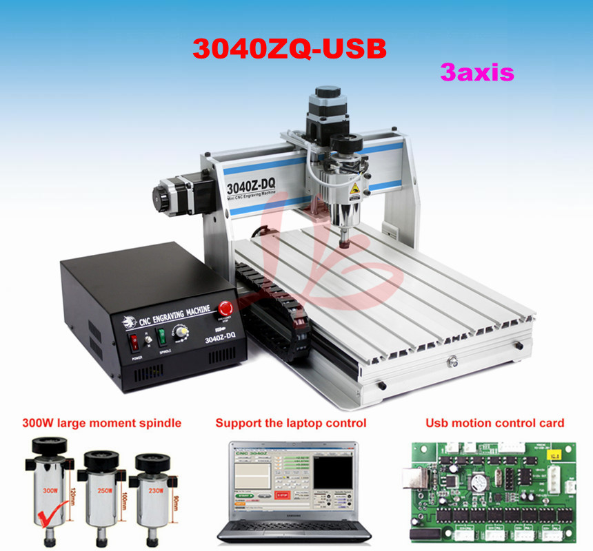 Russia no tax  USB port cnc router 3040Z-DQ cnc cutting machine no tax to russia factory new 4 axis cnc cutting machine with limit switch usb port 800w cnc router 3040 z usb