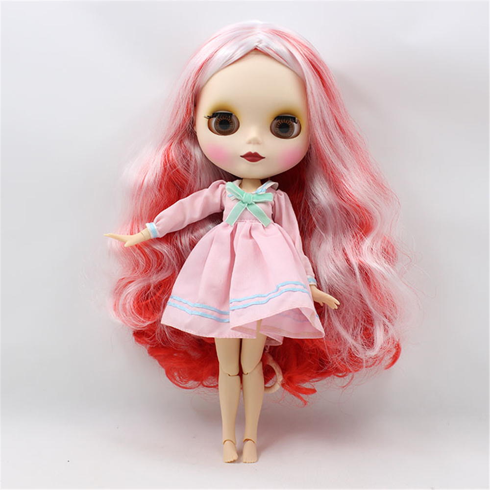 Blyth Doll Nude Joint Body Mixed Color Hair Suitable DIY makeup face doll bjd 1/6 blyth dolls for sale 12 blyth nude doll k 180 black hair bjd blyth doll for sale