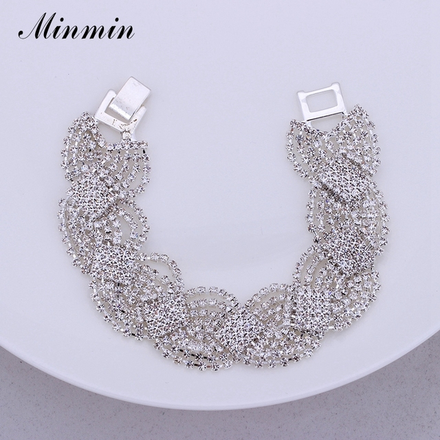 Minmin Gold/Silver Plated Chain Bracelets for Women Clear Crystal Wedding Jewelry African Beads Ladies Bangles SL076