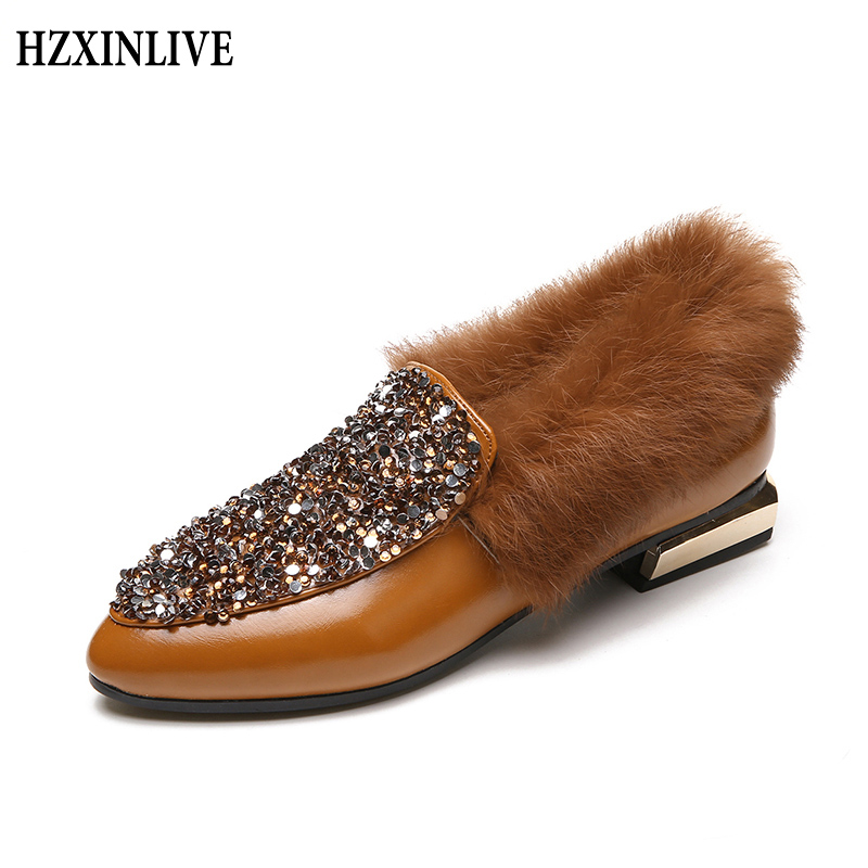 HZXINLIVE 2018 Autumn Winter Ladies Casual Shoes Slip on Warm Flats Solid Black Fashion Women Pointed Toe Flat Fur Sequin Shoes odetina 2017 new women pointed metal toe loafers women ballerina flats black ladies slip on flats plus size spring casual shoes