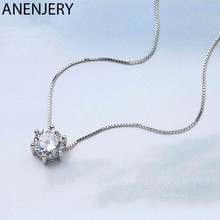 Anenjery 925 Sterling Silver Necklace Six Claw AAA CZ Mosaic Zircon Choker Necklace For Women collier Valentine's Day Gift S-N46(China)