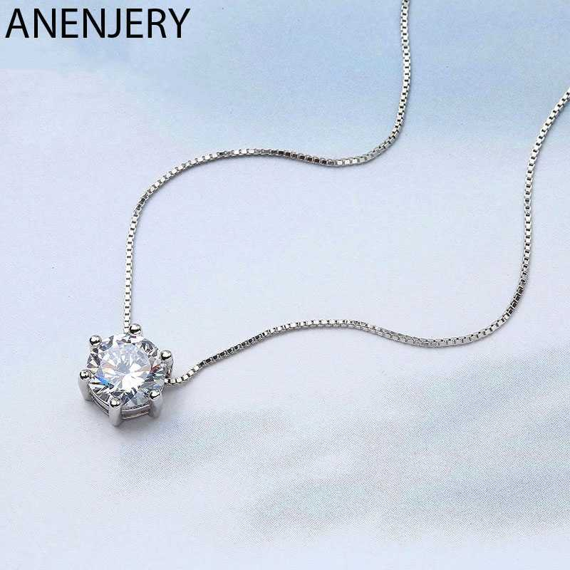 Anenjery 925 Sterling Silver Necklace Six Claw AAA CZ Mosaic Zircon Choker Necklace For Women collier Valentine's Day Gift S-N46