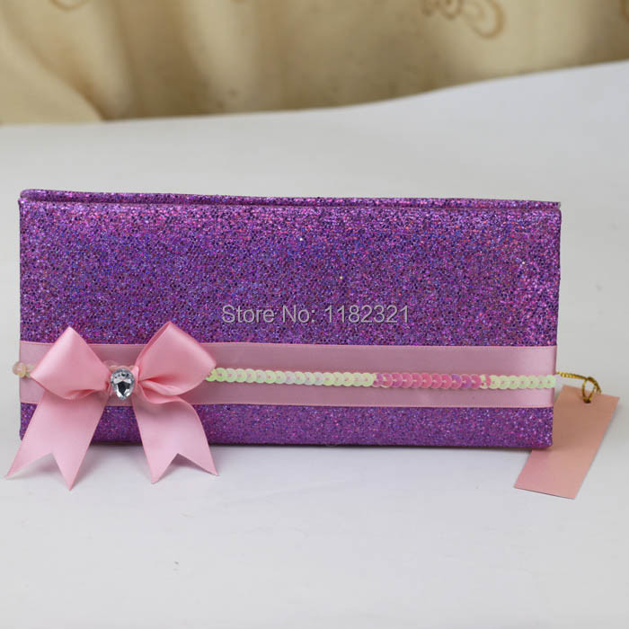 Glitter Wallet Style Wedding Invitation Cards Matched With Paper Bag ...
