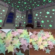 100PC Per Bambini Camera Da Letto Fluorescente Glow In The Dark Stars Glow Adesivi Murali Stelle Luminose luminoso glow autoadesivo di colore 8.13(China)