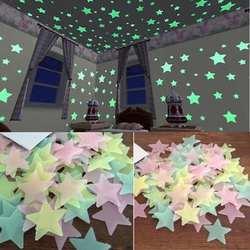 100 шт. дети спальня люминесцентные светятся в темноте звезды Glow настенные стикеры в виде звезд светящиеся наклейки цвет 8,13