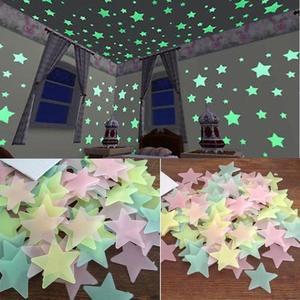 100PC Kids Bedroom Fluorescent Glow In The Dark Stars Glow Wall Stickers Stars Luminous luminous glow sticker color 8.13(China)