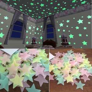 KAKUDER 100PC Kids Bedroom Wall Stickers Stars glow