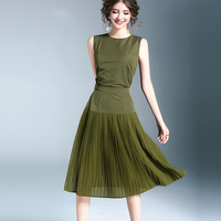Noble Army Green Twinsets Women 2017 Summer Fashion O Neck Sleeveless Dress Pleated Patchwork Mid Calf