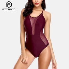 Attraco Women's One Piece Swimsuit Mesh Plunge Deep V Polka Dot Swimwear Backless Sexy Bathing Suit Wine Red Vintage Monokini printed backless plunge neck swimsuit