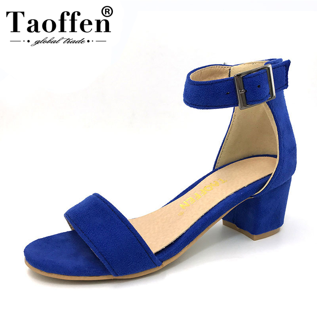 US $16.82 49% OFF|TAOFFEN Women High Heel Sandals Women Open Peep Toe Shoes Womens Lady Suede Leather High Quality Brand Shoes Size 34 43 PA00633 in