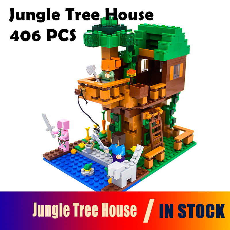 18009 my worlds Model building kits compatible with lego MineCraft The Jungle Tree House Educational toys hobbies for children lepin 18003 my world series the jungle tree house model building blocks set compatible original 21125 mini toys for children