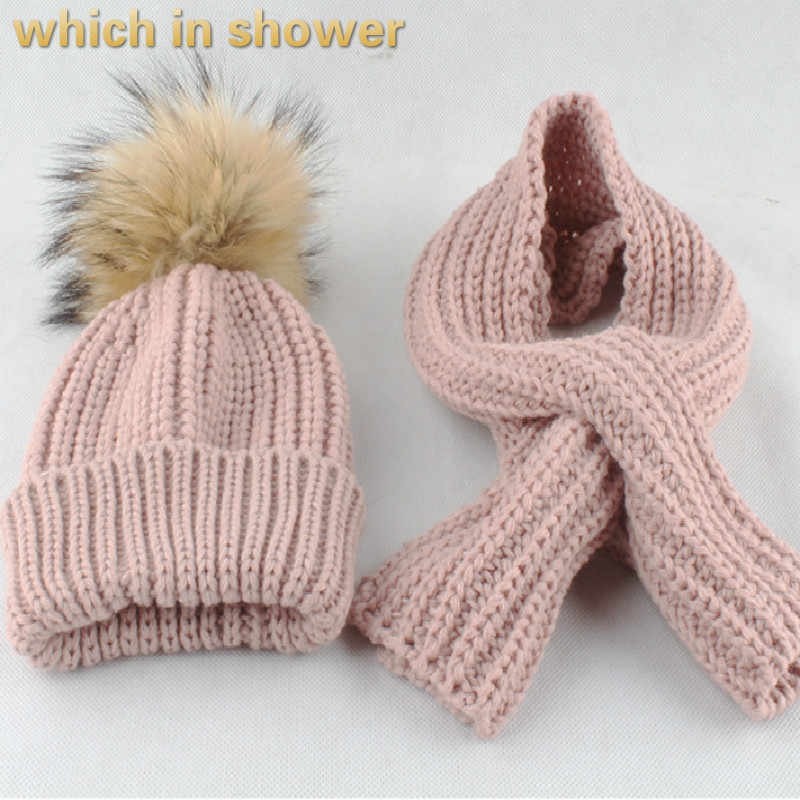 子供のスカーフと帽子セット本物のアライグマの毛皮ポンポン冬ビーニーネックウォーマー子供ニット帽子スカーフリアルファーポンポンポンポンガールキャップ