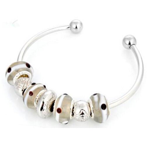 Delicate Lampwork Porcelain Silver European Beaded Charms Design Bangle Bracelet