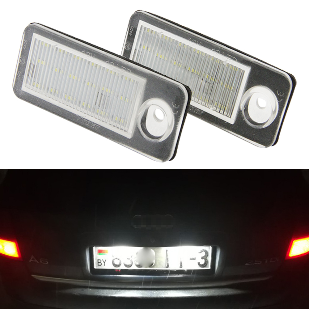 цена на For Audi Canbus LED License Plate Light Number Plate Lamp Xenon White for A6 C5 4B Avant/Wagon 1998-2005 RS6 Plus 2003-2005 2PCS