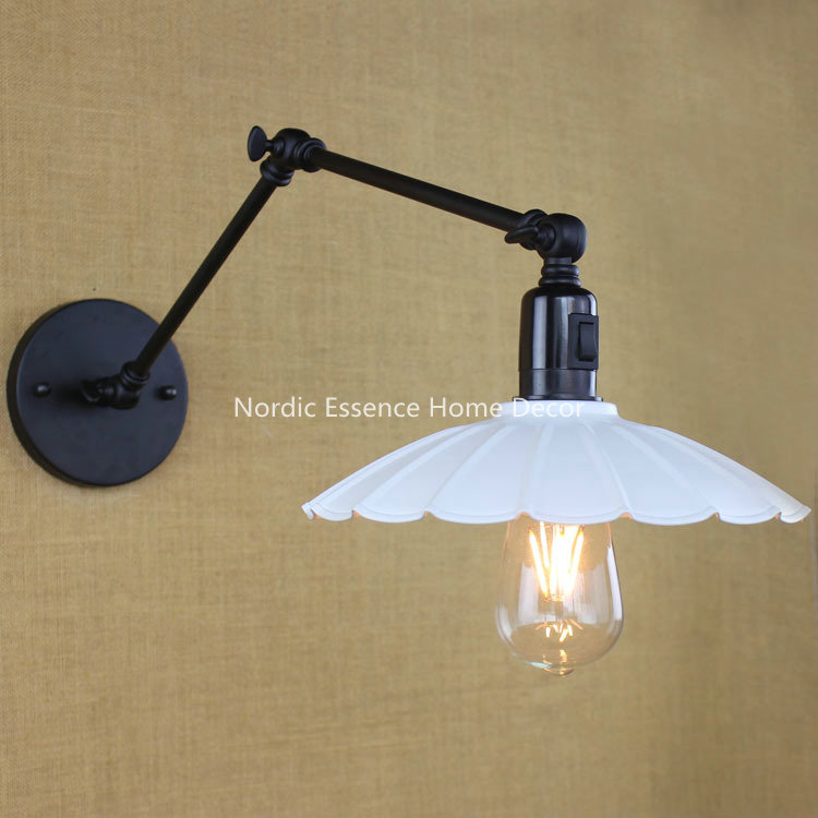 ФОТО Nordic EU American country industrial wall light with switch,LOFT restaurant Cafe bar wrought iron lamp study bedroom sconce