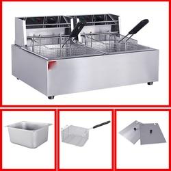 Commercial Potato Chips Deep Fat Fryer Chicken Deep Fryer Kitchen Equipment Electric Frying Pan Chicken Grill Frying Machine