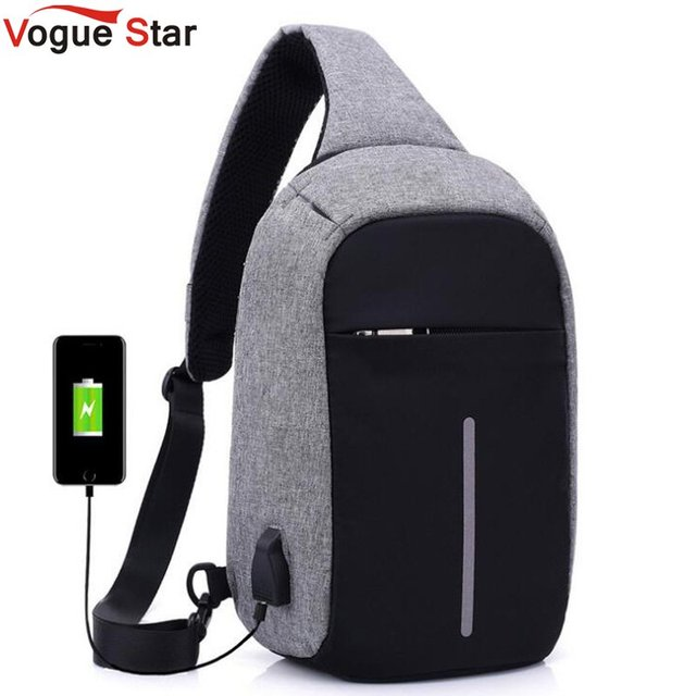 External Usb Charge Chest Bags Men Pack Anheft Travel Crossbody Bag For Casual Sling