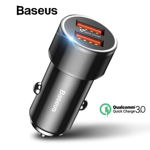 Cargador de coche Baseus 36 W Dual USB de carga rápida QC 3,0 para iPhone USB tipo C PD cargador rápido cargador rápido de coche para teléfono móvil