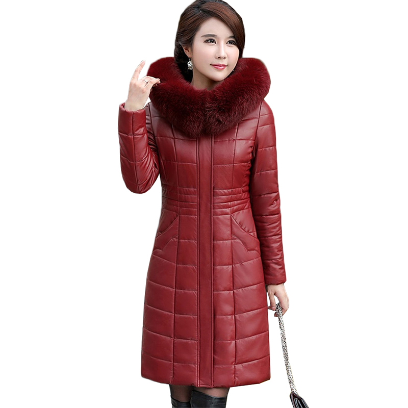 2018 Winter   Leather   Coat Female Medium Long Parka Jacket Hooded Large Fur Collar High Quality   Leather   Clothing Plus Size L-8XL