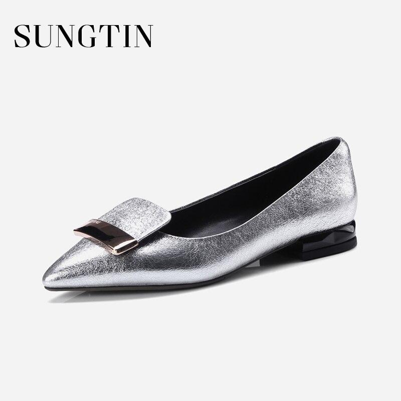 Sungtin d'été nouvelles femmes En Cuir Véritable chaussures plates de mode bling slip-on low talon partie chaussures lady casual plus taille appartements chaussures