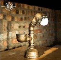 Water Pipe Vintage Table Lamp In Industrial Loft Style Beside Lamps For Bedroom,Abajur Lamparas De Luminaria Mesa
