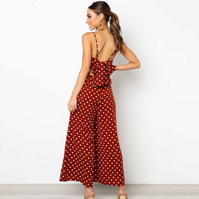 Bohemian Vrouwen Rompertjes zomer dot riem overalls vakantie hollow out bandage casual wijde pijpen jumpsuits losse strand lange speelpakjes