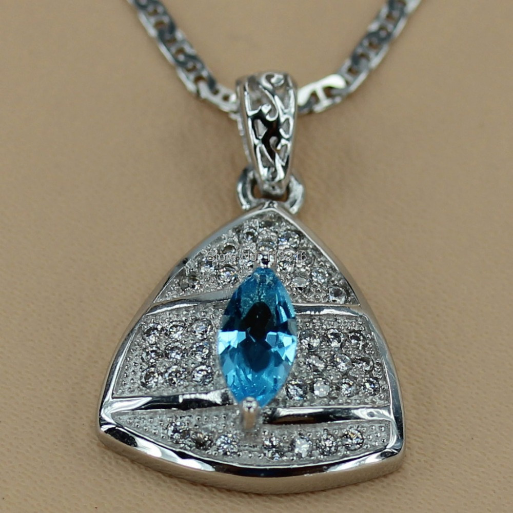 Romantic Fashion Jewelry Blue Cubic Zirconia Wholesale Silver Plated Promotion Favourite Hot Vintage beautiful Pendant R3107