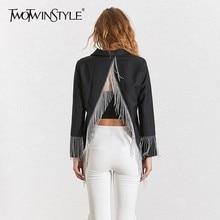 TWOTWINSTYLE Backless Tassel Blazer Coat Women Long Sleeve Sexy Black B