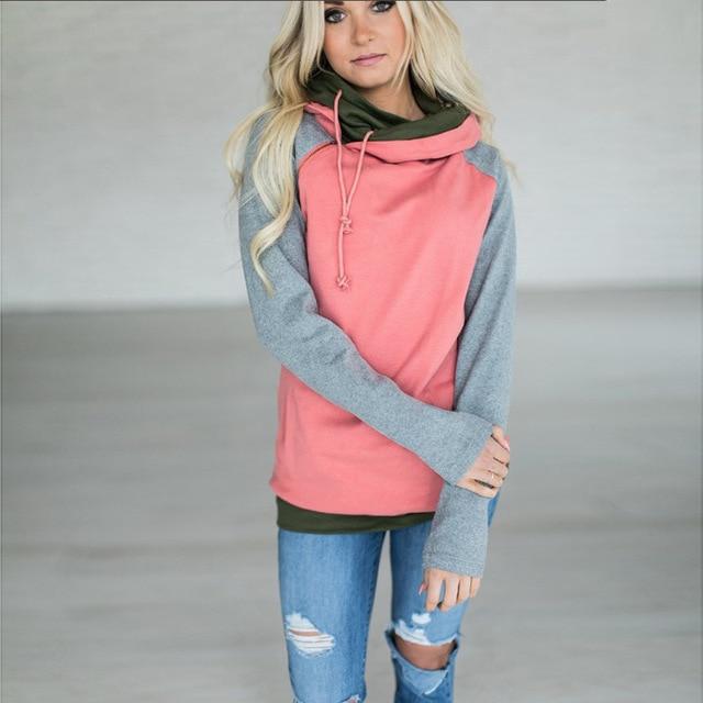 9f93c07ceb8 Hoodies Female 2018 Autumn Coat Double Hooded Sweatshirt Women Drawstring Patchwork  Hoodie Zipper Top Sudadera Mujer 3XL