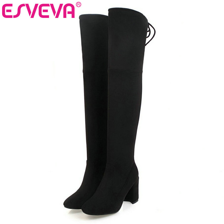 ESVEVA 2018 Gray Zipper Winter Shoes Women Stretch Fabric Fashion Boots Lace Up Square High Heel Over The Knee Boots Size 34-43