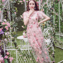 2016 New Autumnwomen dress party Christmas gift Flowers Flower Girl Long princess Dresses Perspective 3D Powder Woman clothing