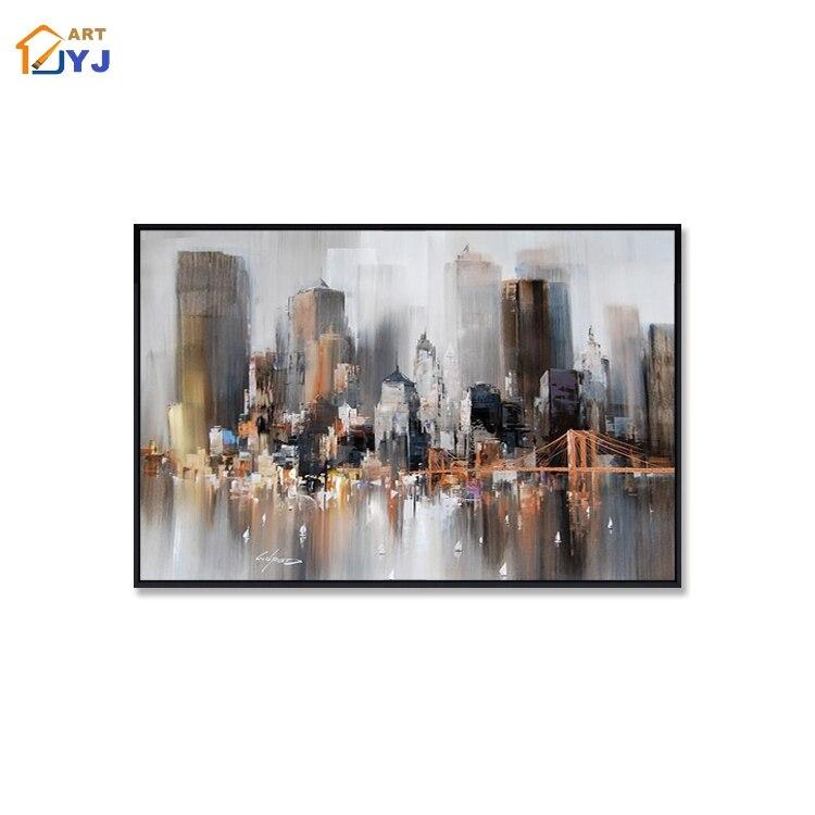 Серый Цвет город плакаты настенные картины для гостиной Ручная роспись Современная абстрактная картина маслом домашний Декор подарок без рамки стены искусства