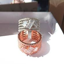 2019 Fashion Rose Gold Color Big Wide Rings For Women Jewelry Adjustable Open Ring Personality